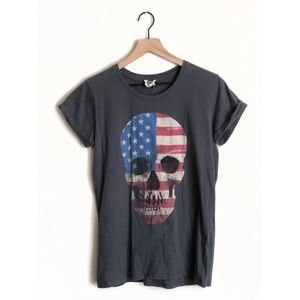 Cotton On American Flag Skull Rolled Sleeve Tee